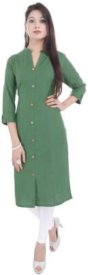VAIDIKI Formal Embellished, Solid Women Kurti(Green)