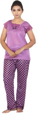 Fabme Women Polka Print Purple Top & Pyjama Set