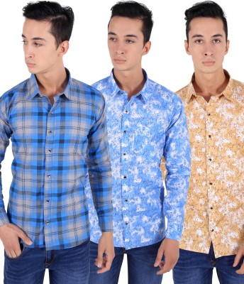 The Mens Stop Men's Printed Casual Multicolor Shirt(Pack of 3)