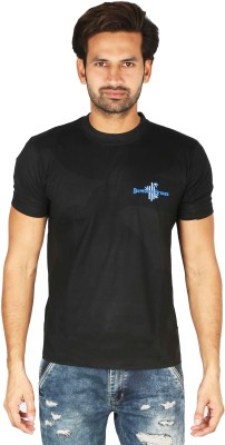 Bamboo Breeze Solid Men's Round Neck Black T-Shirt
