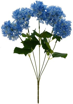 Fourwalls Fourwalls Artificial Hydrangea Flower Bouquet (45 cm, Blue) Multicolor Assorted Artificial Flower(8 inch, Pack of 1)  available at flipkart for Rs.199