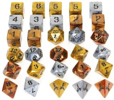 Deluxe Games and Puzzles Gold, Silver Bronze Polyhedral Dice Board Game
