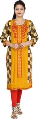 Metro Fashion Women Embroidered Straight Kurta(Orange)