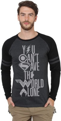 SayItLoud Justice League Printed Men's Round Neck Black T-Shirt