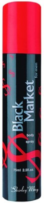 SHIRLEY MAY Black Market (Imported From U.A.E) Deodorant Spray  -  For Men(75 ml)  available at flipkart for Rs.99