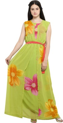 Ishin Women's Maxi Green Dress