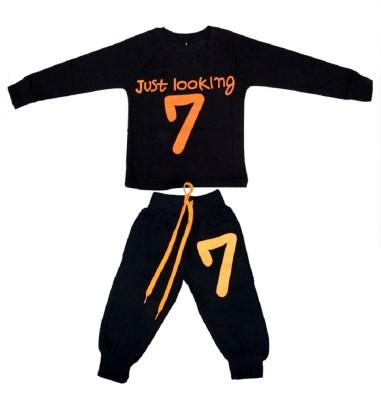 Fingers Boys & Girls Casual Track Pants T-shirt(Black)
