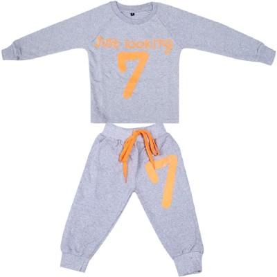 Fingers Boys & Girls Casual Track Pants T-shirt(Grey)