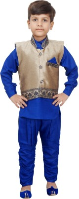 Ahhaaaa Boy's Casual Kurta, Waistcoat and Pyjama Set(Blue Pack of 1)