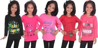 Diaz Girls Printed Cotton T Shirt(Black, Pack of 5)
