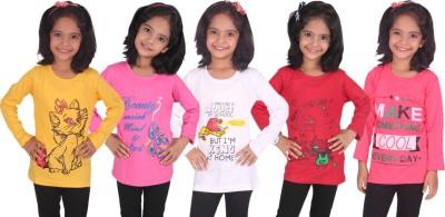 Diaz Girls Printed Cotton T Shirt(Yellow, Pack of 5)