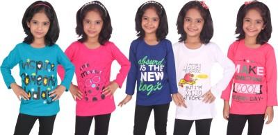 Diaz Girls Printed Cotton T Shirt(Light Blue, Pack of 5)