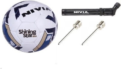 Nivia Combo of three, one 'Shining Star-2022' Football, one double action air inflation pump and 2 generic needles. Football Kit  available at flipkart for Rs.1200