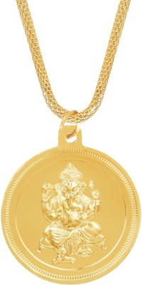 Shining Jewel 24K Ganesh Coin Yellow Gold Brass Pendant  available at flipkart for Rs.244