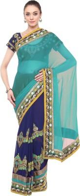 Aksaa Embroidered Fashion Faux Georgette Saree(Blue) Flipkart