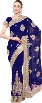Aksaa Embellished Fashion Faux Georgette Saree(Blue) Flipkart