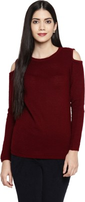 Forever Glam by Pantaloons Solid Round Neck Casual Women's Red Sweater