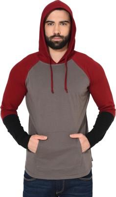 Gritstones Color block Men Hooded Brown, Maroon T-Shirt