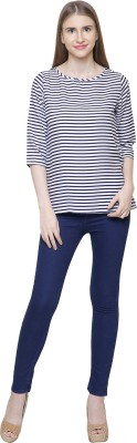 Ziana Casual 3/4 Sleeve Striped Women Dark Blue, White Top