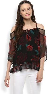 Rare Casual Shoulder Strap Floral Print Women Multicolor Top Rare Women\'s Tops