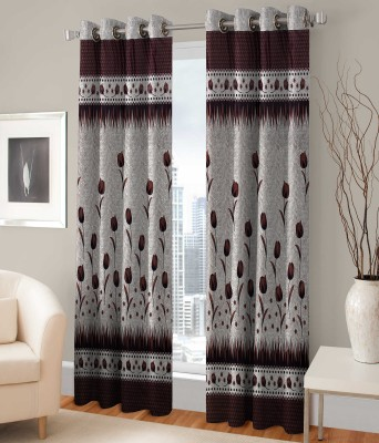 Bombay Dyeing 214 cm (7 ft) Polyester Door Curtain (Pack Of 2)(Floral, White, Brown)