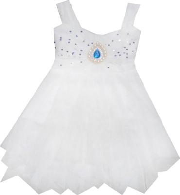 Kraft10 Girls Midi/Knee Length Party Dress(White, Sleeveless)