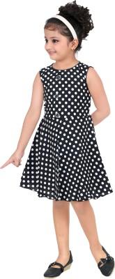 Singham Girls Midi/Knee Length Casual Dress(Black, Sleeveless)