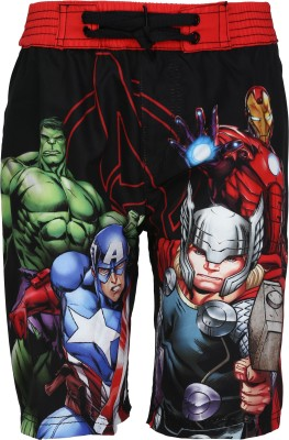 Avenger Short For Boy's Beach Wear Graphic Print Polyester(Multicolor, Pack of 1)
