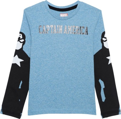 Avenger Boy's Graphic Print Cotton Polyester Blend T Shirt(Blue, Pack of 1)
