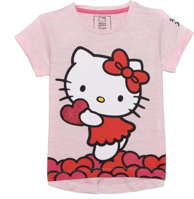 47327386e 49% OFF on Hello Kitty Girl's Graphic Print Cotton Polyester Blend T Shirt( Pink, Pack of 1) on Flipkart   PaisaWapas.com