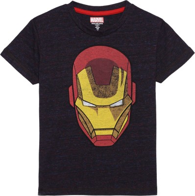 Avenger Boy's Graphic Print Cotton Polyester Blend T Shirt(Black, Pack of 1)