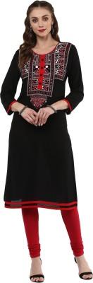 Qalamkari Casual Solid, Embroidered Women Kurti(Black)