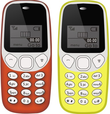 I Kall K71 Combo of Two Mobile(Red & Yellow)
