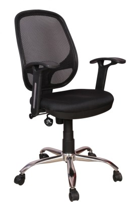 Rajpura 802 Medium Back Revolving Chair with push back mechanism in Black...
