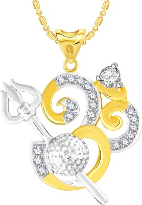 VK Jewels Trishul Om Gold-plated Cubic Zirconia Alloy Pendant