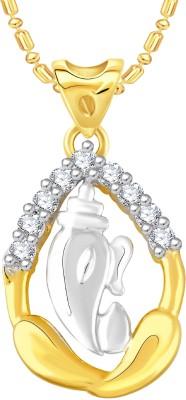 VK Jewels Ganesh 18K Yellow Gold Cubic Zirconia Alloy, Brass Pendant