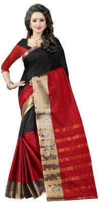 The Fashion Outlets Woven Kanjivaram Polycotton, Art Silk Saree(Red, Black)