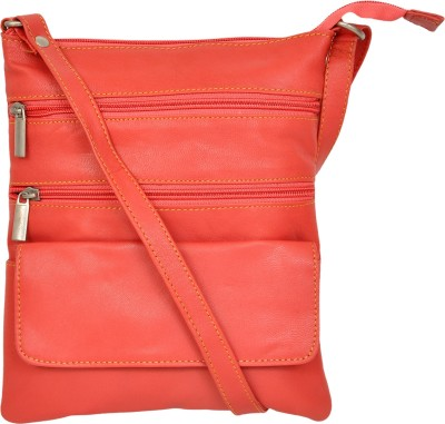 e2bc291cc2e3 zumar Men   Women Pink Genuine Leather Sling Bag