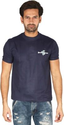 Bamboo Breeze Solid Men's Round Neck Dark Blue T-Shirt
