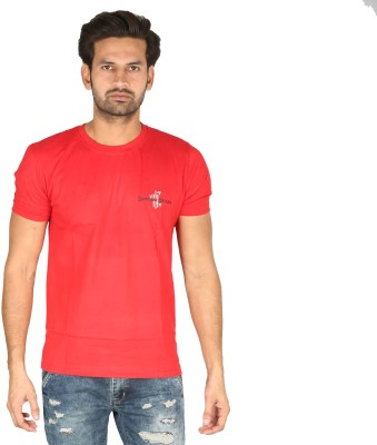 Bamboo Breeze Solid Men's Round Neck Red T-Shirt