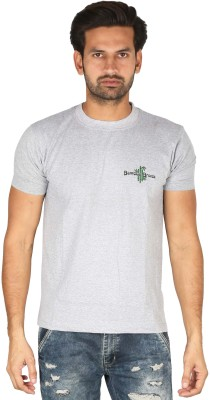 Bamboo Breeze Solid Men's Round Neck Grey T-Shirt