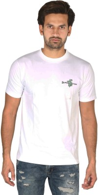 Bamboo Breeze Solid Men's Round Neck White T-Shirt