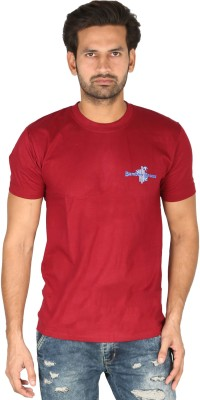 Bamboo Breeze Solid Men's Round Neck Maroon T-Shirt
