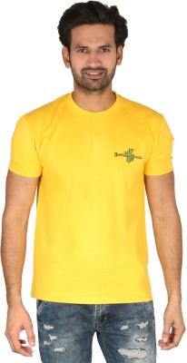 Bamboo Breeze Solid Men's Round Neck Yellow T-Shirt