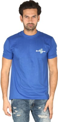 Bamboo Breeze Solid Men's Round Neck Blue T-Shirt