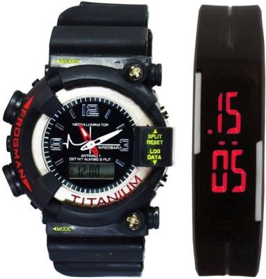 lavishable Analog-Digital S-Shock Black & Rubber Led Band Red For Boys & Girls Combo Watch - For Boys Watch  - For Men & Women