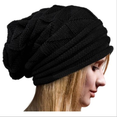 BEZAL Black Slouchy woolen Long Beanie Cap for Winter skull head Unisex Cap Cap