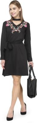 Pluss Women A-line Black Dress