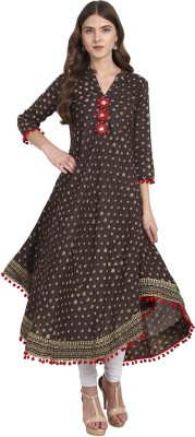 Nayo Women Printed Anarkali Kurta(Brown)