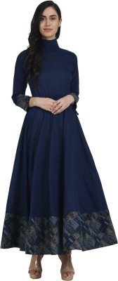 Nayo Women Solid Anarkali Kurta(Dark Blue)